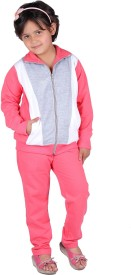 Vivid Bharti Style Collar 3 Colour Solid Girl's Track Suit