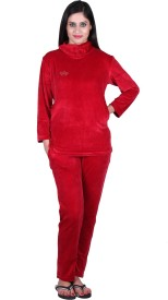 Vivid Bharti Style Polo Neck Solid Women's Track Suit