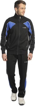 Athlet Solid Black And Royal Color Solid Men's Track Suit