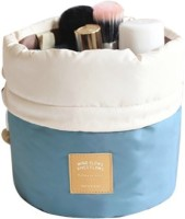 Nimble House (17x23cm)Travel Dresser Jumbopouch Skyblue Color Polyster Faux Leather Mesh Cosmetics Bag Blue