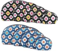 Uberlyfe Dark Blue And Black Multipurpose Pouch Or Purse With Floral Print - Combo Of 10 Multicolor