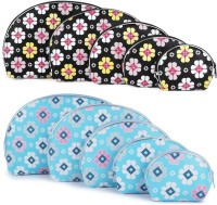 Uberlyfe Light Blue And Black Multipurpose Pouch Or Purse With Floral Print - Combo Of 10 Multicolor