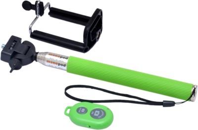 Watermelon Compact Selfie On Stick + Bluetooth Remote Shutter Green