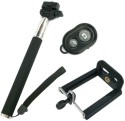 YourDeal Extendable Selfie Stick With Remote & Clamp Black Monopod (Black, Supports Up To 500 G)