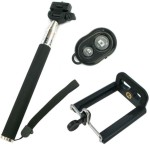 YourDeal Extendable Selfie Stick with Remote & Clamp Black