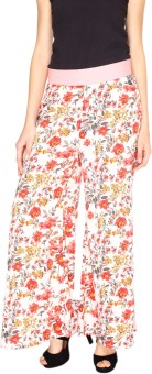 Fashion205 White And Red American Crepe Palazzo Regular Fit Women's Trousers