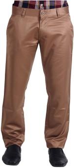 La Mode Beige Woven Mid-rise Formal Regular Fit Men's Trousers