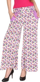Fashion205 Casual White And Purple Printed American Crepe Palazzo Regular Fit Women's Trousers