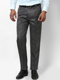 Jctex Formal Grey Linen Regular Fit Men's Trousers