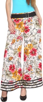 Fashion205 Casual White And Pink Printed European Crepe Palazzo Regular Fit Women's Trousers