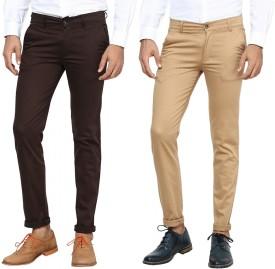 Inspire Pack Of Brown & Khaki Slim Fit Men's Trousers