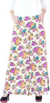 Fashion205 White & Purple Regular Fit Women's Trousers