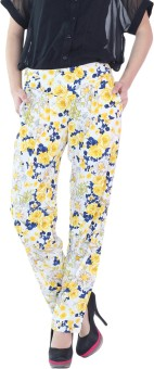 Fashion205 White And Yellow Printed Crepe Regular Fit Women's Trousers