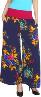 Fashion205 Casual Blue And Green Printed European Crepe Palazzo Regular Fit Women's Trousers