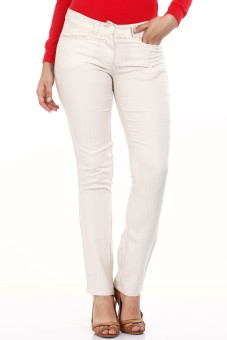Mustard White Cotton Lycra Regular Fit Women's Trousers