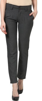 Thegudlook Grey Straight Pant Regular Fit Women's Trousers