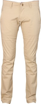 Le-Meiux Slim Fit Men's Beige Trousers