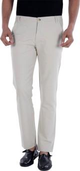 S9 MEN Slim Fit Men's Cream, Multicolor Trousers