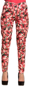 Oxolloxo Red Roses Regular Fit Women's Trousers