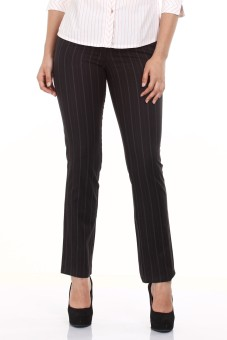 Mustard Black Stripped Formal Cotton Regular Fit Women's Trousers