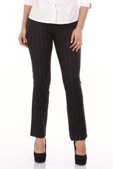 Mustard Black Stripped Formal Cotton Regular Fit Women's Trousers