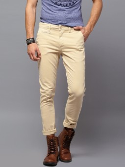 Roadster Slim Fit Men's Beige Trousers