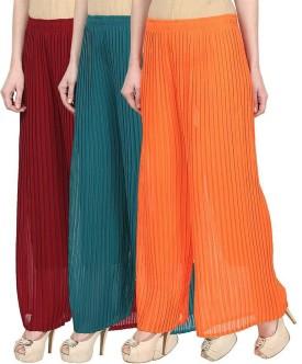 Skyline Trading Regular Fit Women's Maroon, Green, Orange Trousers
