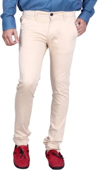 Kivon Beige Slim Fit Men's Trousers