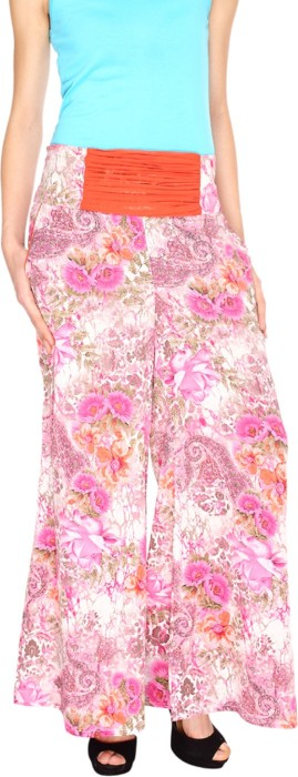 Fashion205 Pink And White Printed Cotton Satin Palazzo Regular Fit Women's Trousers