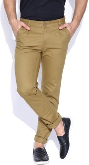 Hubberholme Slim Fit Men's Beige Trousers