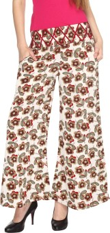 Fashion205 Casual White And Maroon Printed American Crepe Palazzo Regular Fit Women's Trousers