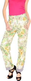 Fashion205 Green And White European Crepe Regular Fit Women's Trousers