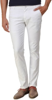 Men In Class Slim Fit Men's White Trousers