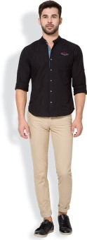 The Indian Garage Co. Slim Fit Men's Beige Trousers