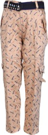Crazeis Regular Fit Boy's Brown Trousers