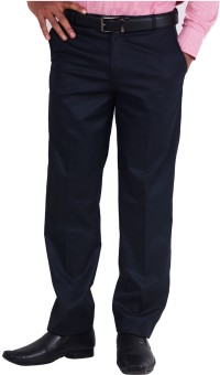 La Mode Dark Navy Blue Formal Regular Fit Men's Trousers