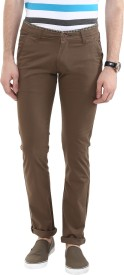 Urban Navy Slim Fit Men's Brown Trousers