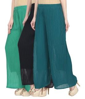 FASHION ELECTRA Regular Fit Women's Green, Blue, Green Trousers