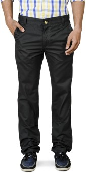 Blimey LeadBlack-Cotton Slim Fit Men's Trousers