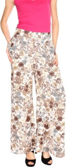 Fashion205 Beige And Grey Printed American Crepe Palazzo Regular Fit Women's Trousers