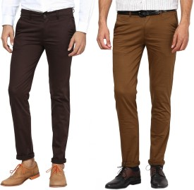 Inspire Pack Of Brown & D.Khaki Slim Fit Men's Trousers