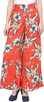 Thegudlook Orange Print Modal Palazzo Pant Regular Fit Women's Trousers