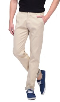 FBM Slim Fit Men's Beige Trousers