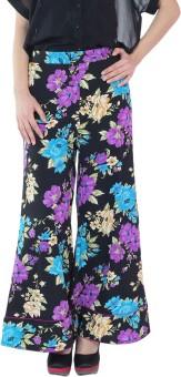 Fashion205 Black & Purple Regular Fit Women's Trousers