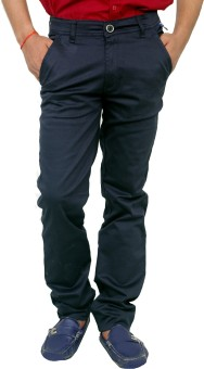 Blue Teazzers Slim Fit Men's Blue Trousers