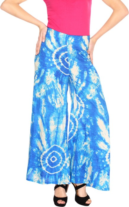 Fashion205 Blue And White Printed Cotton Satin Palazzo Regular Fit Women's Trousers