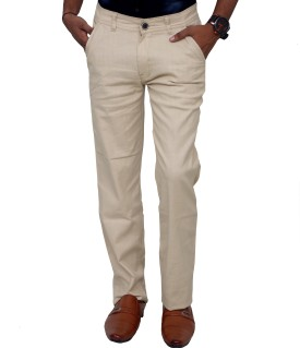 Blue Teazzers Slim Fit Men's Beige Trousers