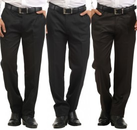 Inspire Pack Of 3 Slim Fit Men's Trousers