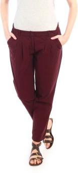 Nun Wine Pleated Trouser Regular Fit Women's Trousers
