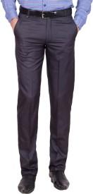 Tiger Grid Slim Fit Men's Blue Trousers